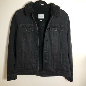 Old Navy Black Sherpa Denim Jacket